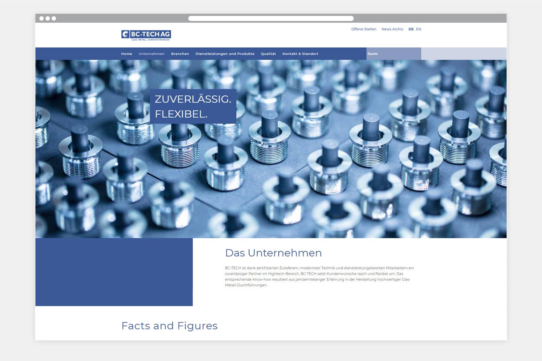 Webseite BC-TECH AG - Folgeseite 1