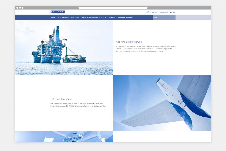 Webseite BC-TECH AG - Folgeseite 2