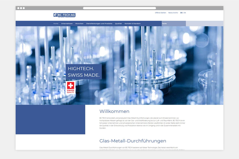BC-TECH AG Webseite Startseite