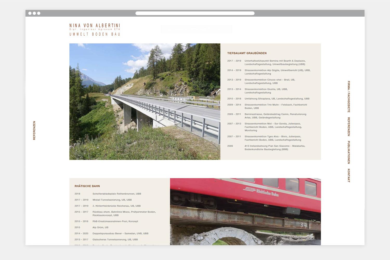 Webseite Nina von Albertini - Folgeseite 2