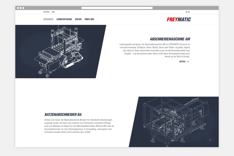 Freymatic Webseite Folgeseite