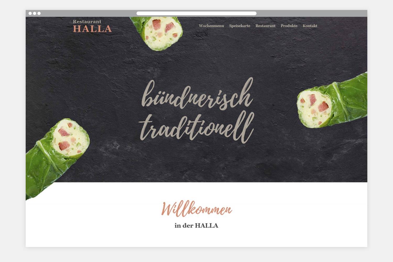 Restaurant Halla Webseite Folgeseite