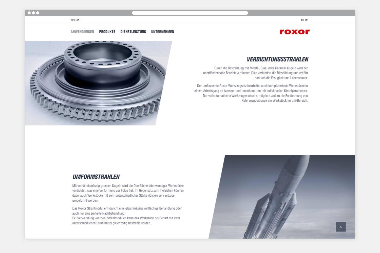 Roxor Webseite Folgeseite