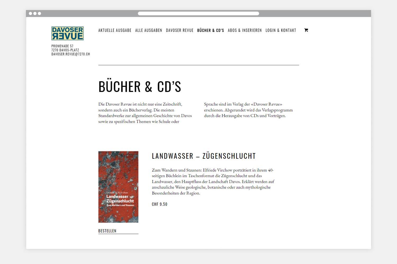 Webseite Davoser Revue - Folgeseite