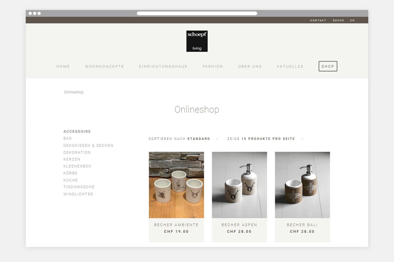 Onlineshop Schoepf Living - Kategorieseite