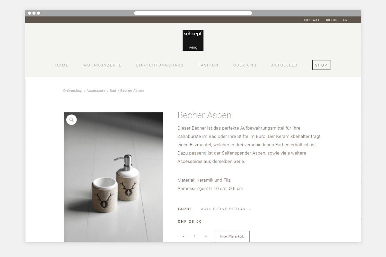 Onlineshop Schoepf Living - Produkt Seite