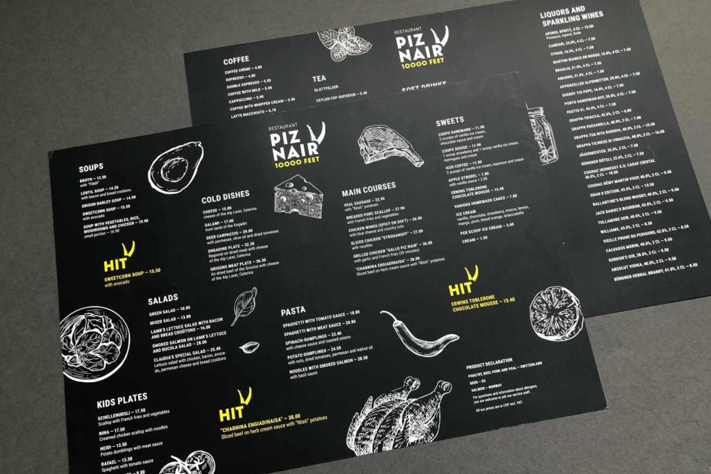 Speisekarten Oberengadin - Piz Nair