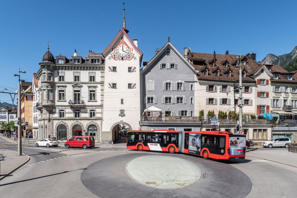 Chur Bus mit neuer Beschriftung unterwegs in Chur