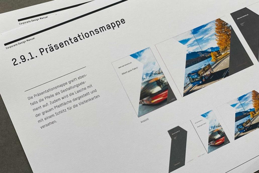 Corporate Design Manual Bus und Service AG | Präsentationsmappe