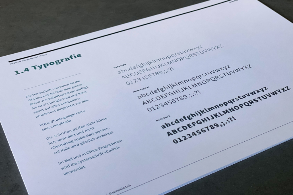 Corporate Design Manual famur | Typografie